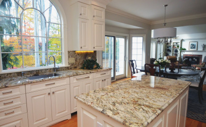Granite Kitchen Countertops w/ Full Height Backsplash